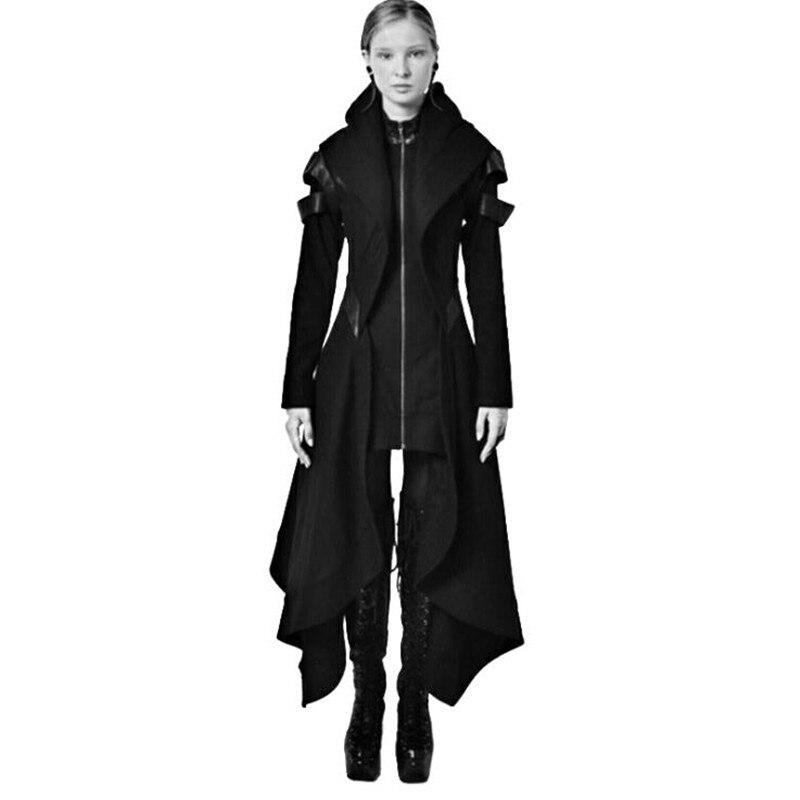 Beschouwend Vrouwen Middeleeuwse Vintage Hooded Lange Trenchcoat Mantel Onregelmatige Vrouw Lederen Patchwork Rits Gothic Overjas Cosplay Kostuum