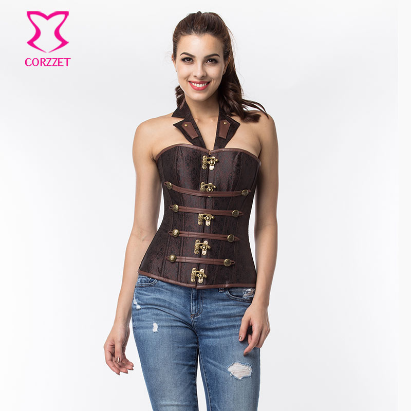Brown Brocade Halter Neck Military Bustier Corset Gothic Top Sexy Corsets and Bustiers Steampunk Clothing Korsett For Women