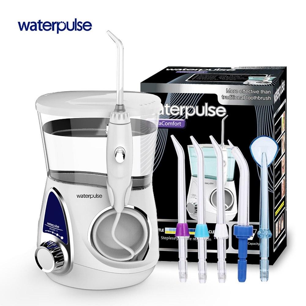 Waterpulse V600 Pulizia dei denti Ricaricabile Pick Acqua per La Pulizia Dei Denti Orale Irrigatore Dentale Getto di Acqua Flosser Con 5 pcs Jet Consigli
