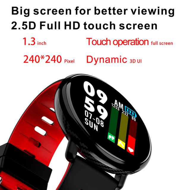 LEMFO K1 2.5D Full HD 3D UI Touch Screen Smart Watch IP68 Waterproof Heart Rate Monitor Replaceable Strap Smartwatch For Android