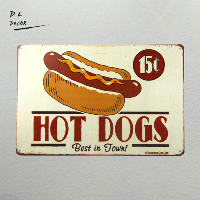 DL- HOT DOGS AMERICAN DINER metalen Retro Aluminium blikjesbord KITCHEN CAFE PUB muurstickers