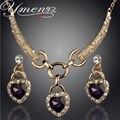 Ymengz diseño romántico del corazón del océano colgante conjunto de boda chapado en oro collar de cristal austriaco pendientes de la joyería para las mujeres