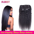 Human Hair Peruvian Kinky Straight Clip In Light Yaki Clips In Hair Extensions 10Pcs Yaki Clip In Virgin  Human Hair Extensions