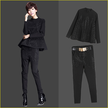 Spring Women Stand Collar A-Line Rhinestone T Shirts Top Harem Pencil Belt Black Pants 2Pieces Sets Female Street Sets Bikinis
