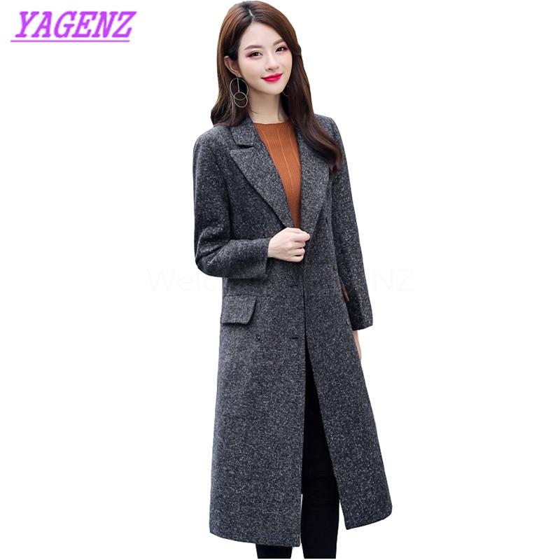 Das Beste Neue Herbst Winter Warm Woolen Jacke Frauen Korean Fashion Lange Wollmantel Junge Frauen Hohe Qualität Lose Gerade Mantel B315