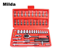 Mild 46pcs Car Repair Tool Combination Wrench Set Batch Head Ratchet Pawl Socket Spanner Screwdriver Power
