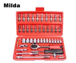 Mild 46pcs Car Repair Tool Combination Wrench Set Batch Head Ratchet Pawl Socket Spanner Screwdriver power tool accessories