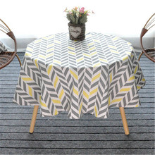 Modern Gray 150CM Round Table Cover Cotton Linen Tablecloths Nordic Style Yellow Chessboard Home Decorative Round Table Cloths
