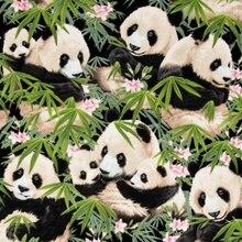 Панда и бамбук лес ткань Ретро стиль ткань бязь напечатанная хлопковая ткань для DIY сумка 009 1 заказ = 50 см* 140 см