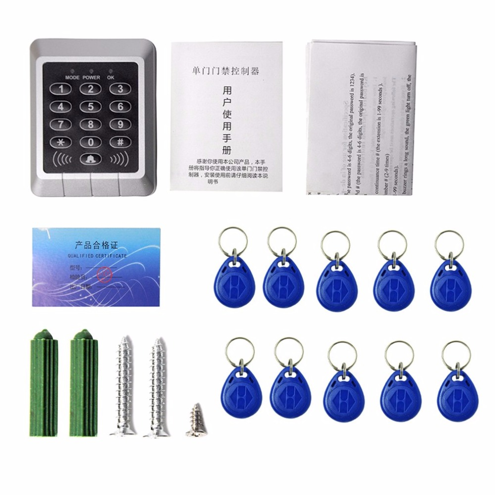 Home Security 125KHz Single RFID Card Proximity Entry Door Lock Access Control System With 10pcs RFID Keys Key Fob 125khz rfid card waterproof metal case fingerprint access control system f102 with remote control 10pcs key card