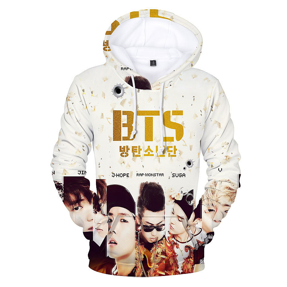 BTS Kpop Moletom Harajuku 3D Hoodies Women / Men Popular Bangtan Hip Hop Sweatshirt Winter Female Fans Hip Hop Casual Clothes