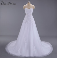 C V Appliques Beading Lace A Line Wedding Dresses New Arrival European Fashion Sashes Court Train