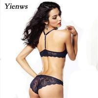 Yienws Sexy Underwire Bra Set Push Up Women Lingerie Lace Underwear FemaleBras And Panties YWU026