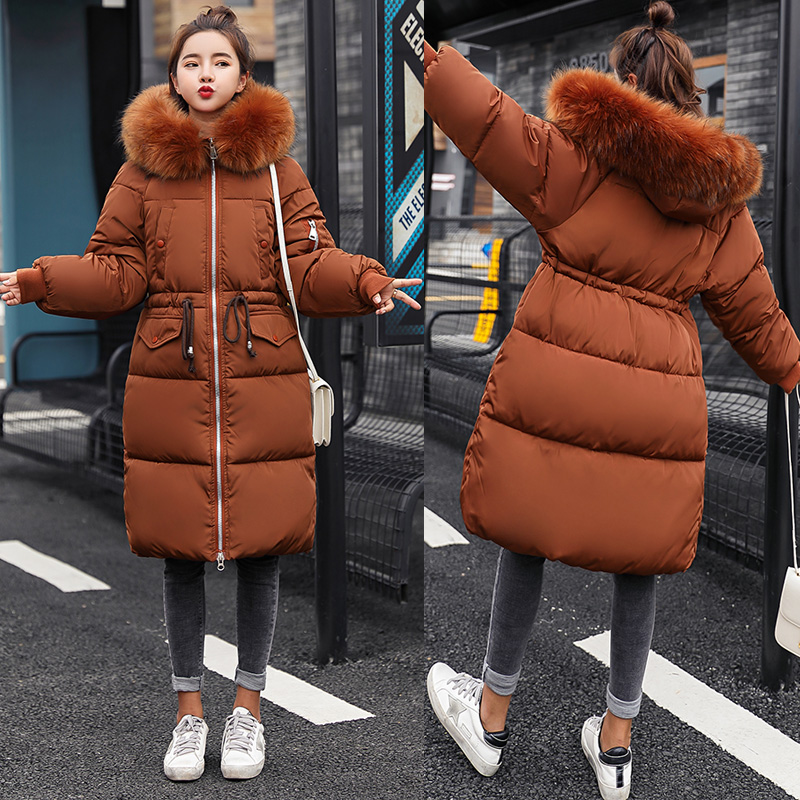 -30 degree Women long jacket coat Fashion high quality thick warm big fur collar hooded   parkas   coat Slim outwear clothing winter