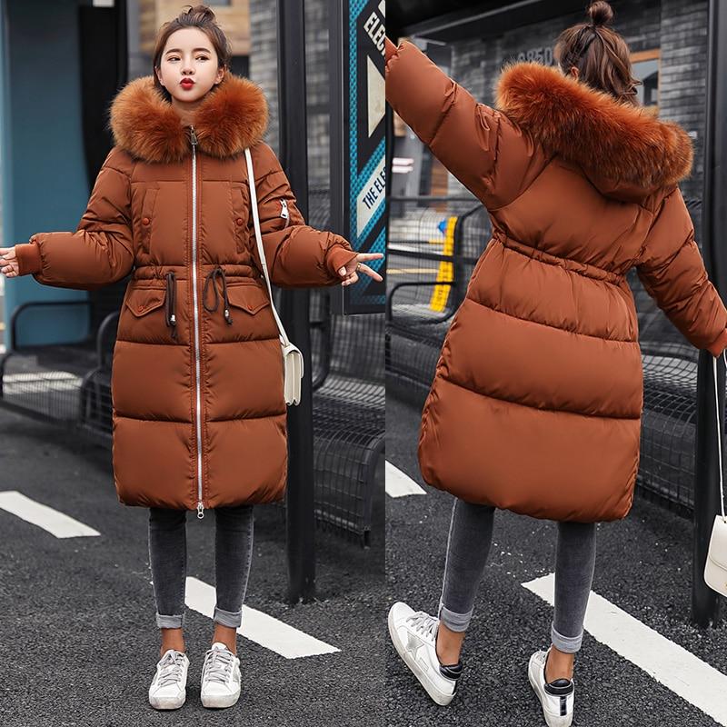 -30 degree Women long jacket coat Fashion high quality thick warm big fur collar hooded parkas coat Slim outwear clothing winter