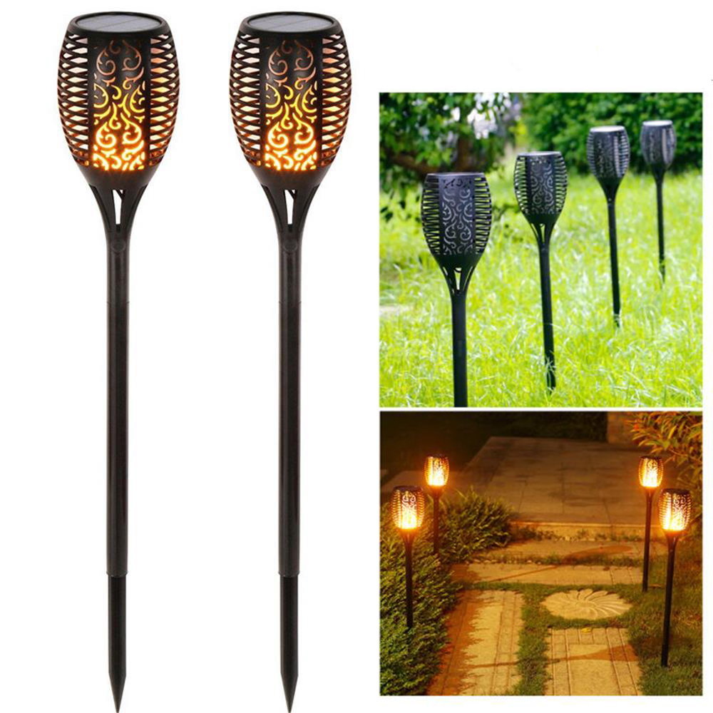 Solar Tiki Torch Lights Led Garden Waterproof Outdoor Courtyard Lamp 10 Dancing Leds Flame Lawn Light Spotlights Landscape Path
