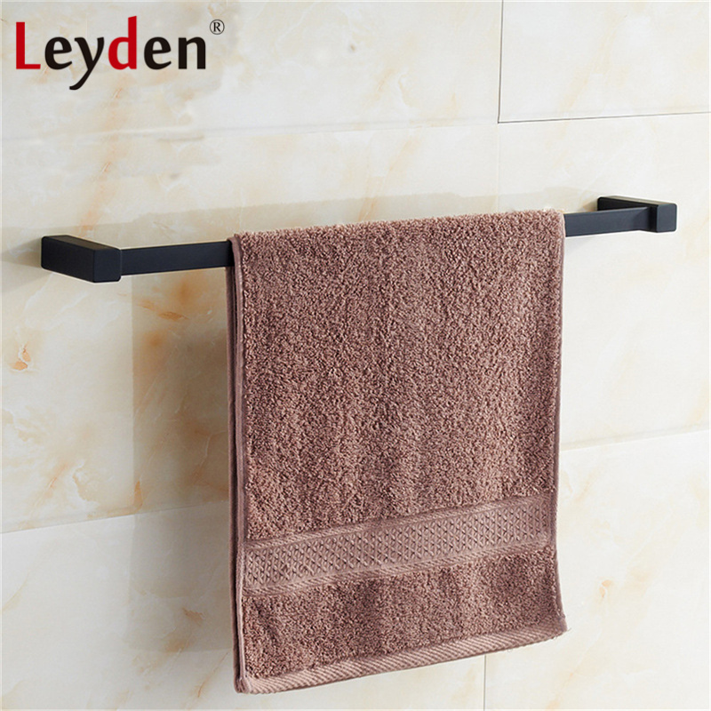 Leyden New SUS 304 Stainless Steel Single Towel Holder Towel Rail Black Wall Mounted Square Towel Bar Rack Bathroom Accessories