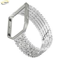 Нержавеющая сталь Ремешок + рамки для Fitbit Blaze Смарт часы полосы замена Diamond Металлические ссылки наручные браслет