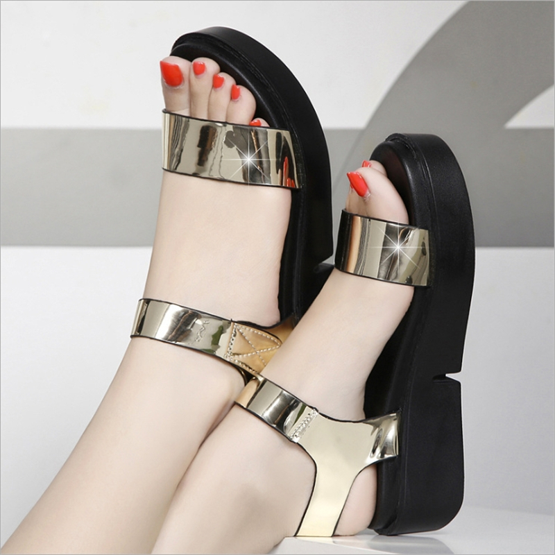 D'été Golden Dames Argent Livraison Or Med forme Plate Nouvelle Femmes Talon 2019 Sandales silver Chaussures Mode Gratuite AqwnUTg5