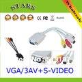 Оптовая PC Компьютер VGA к ТЕЛЕВИЗОРУ S-Video (4-контактный) 3 RCA AV Кабель-Адаптер, vga для rca AV splitter/конвертер/кабель-адаптер