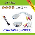 Wholesale PC Computer VGA to TV S-Video(4Pin) 3 RCA AV Adapter Cable , vga to rca AV splitter/converter/adapter cable