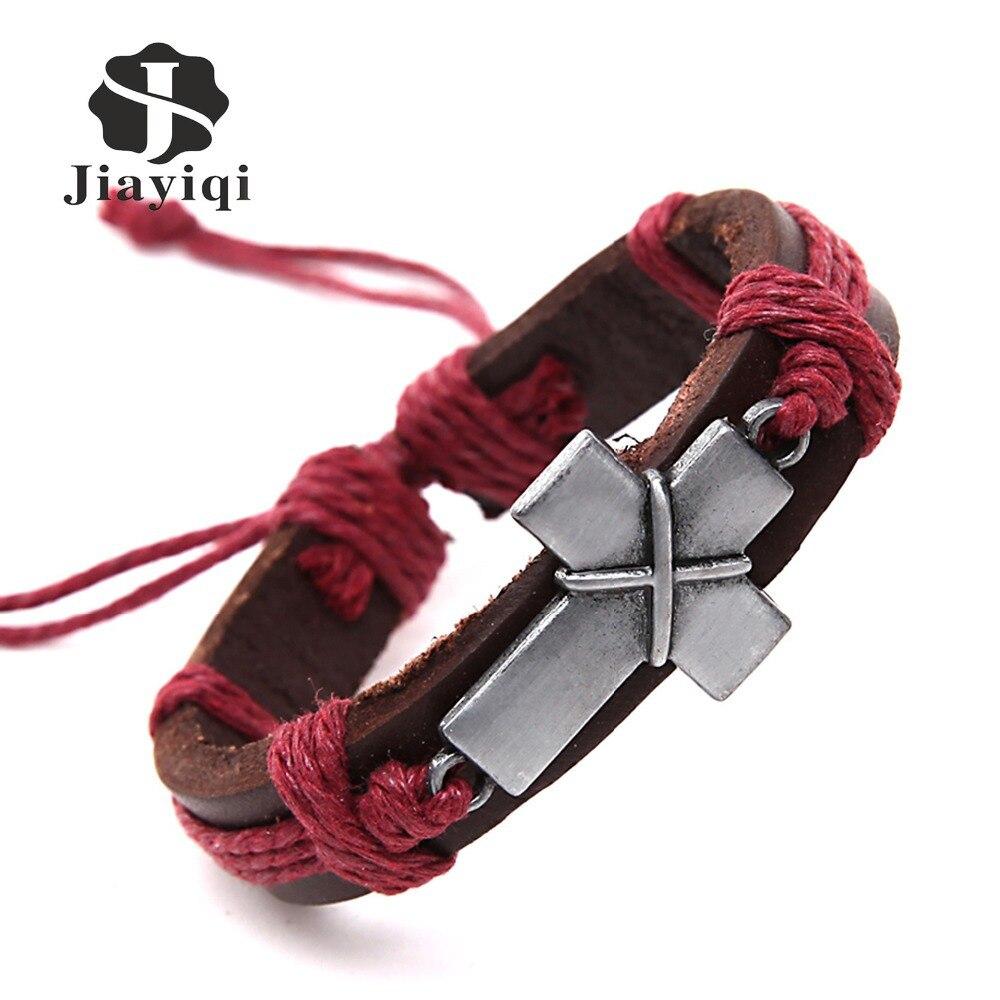 Jiayiqi New Brand Cross Vintage Leather Bracelets Charm Bracelets for Women Men Jewelry Wristband Cord Fashion Jewelry
