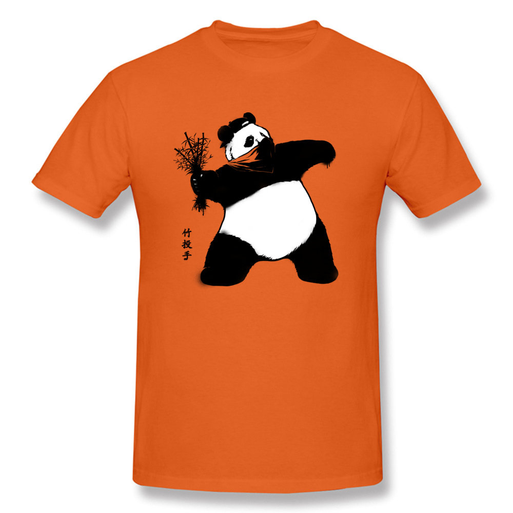 China Panda Bamboo Thrower T Shirt Orange 16 Colors Cheap Funny T-Shirts 100% Cotton Adult Shirts New Printing Tee-Shirts