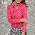Rosa vermelha rebite genuínos jaquetas de couro das mulheres de pele de carneiro da motocicleta jaqueta veste pour femme cuir verdadeiro jaqueta de couro LT175