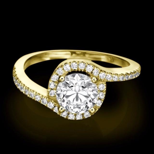 Sólido 9 K Oro Amarillo Anillo Para Las Mujeres Anillo de Halo Brillante 1CT Corte Redondo Diamante Simulado de Compromiso de Boda Joyería Fina anillos