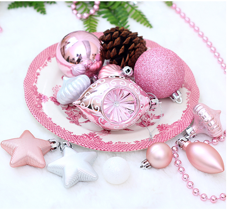 05 inhoo Pink Christmas Tree Ornaments Christmas Balls Decoration Baubles Plastic Hanging Ball Craft Supplies Xmas Gifts 2019 NEW