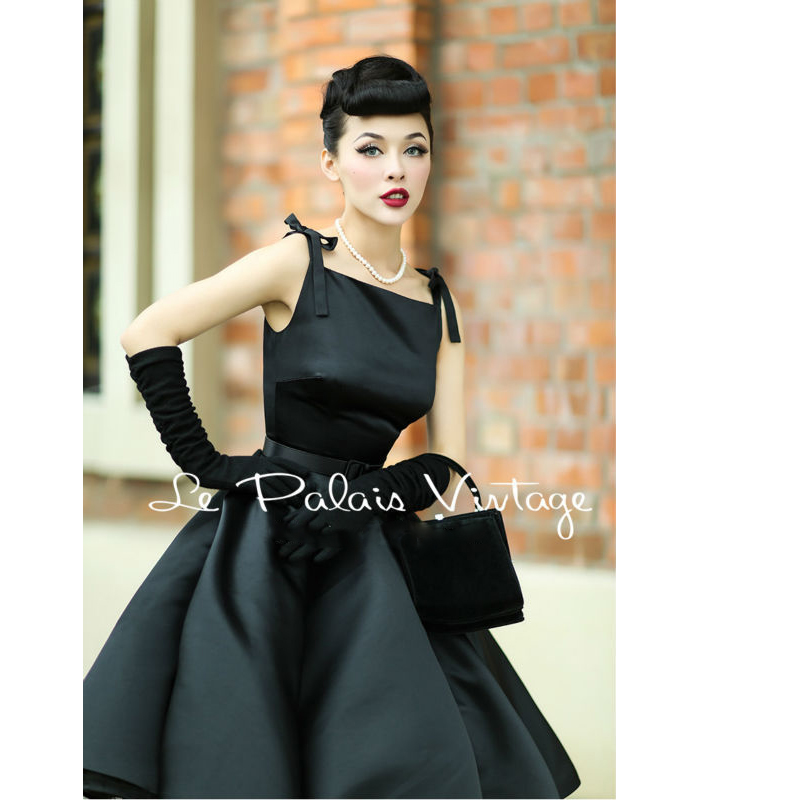 Le Palais Vintage elegant retro classic Hepburn silk high waist puff dress ball gown