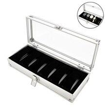 6 slots caixa de relógio alumínio display caso organizador jóias armazenamento bandeja cx17