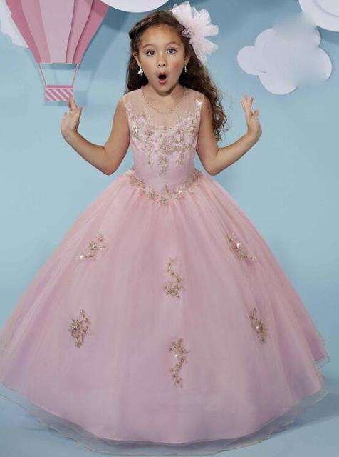 Pink Beading Ball Gown Flower Girl Dresses 2017 Girls Pageant Dress O Neck  Long First Communion Dresses For Girls M1792 4f55926d1817