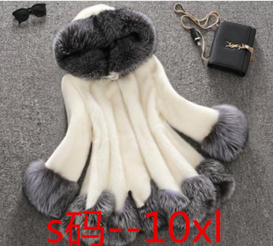e81c3cad240 S 10Xl Womens Super Large Size Long Section Hooded Imitation Mink Fur  Jacket Winter Warm Fake Fur Black White Outwears J2607-in Leather   Suede  from Women s ...