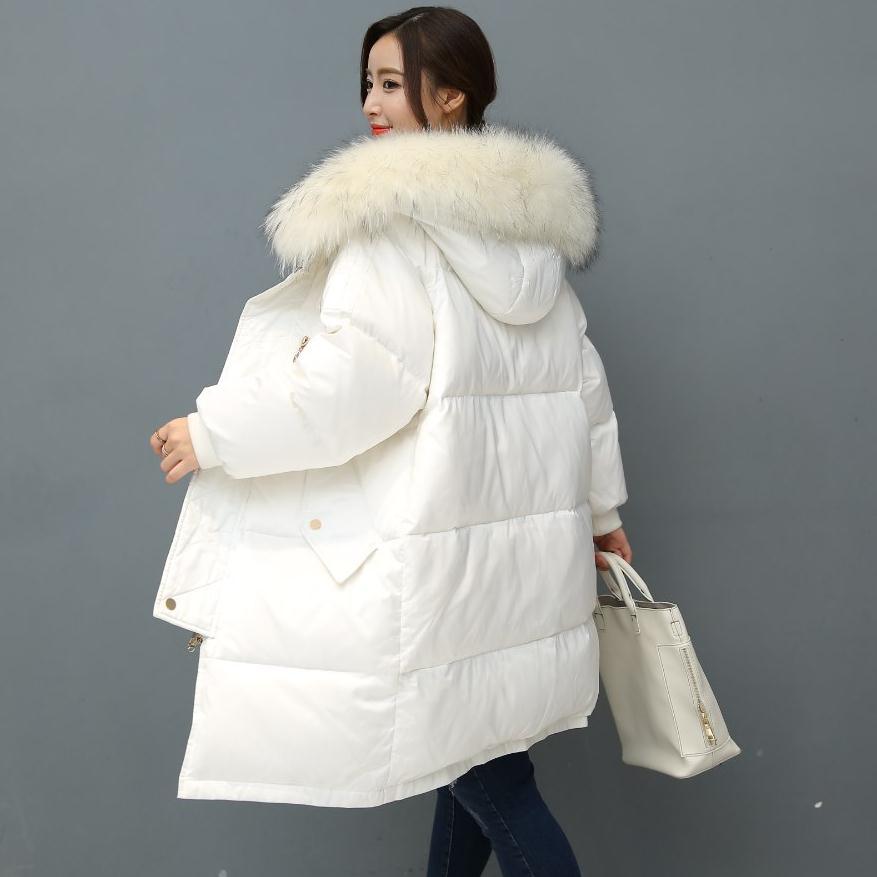 2018 winter new fashion brand big real fur collar 90% duck down jacket female longer thick down feather filler coat wj1164