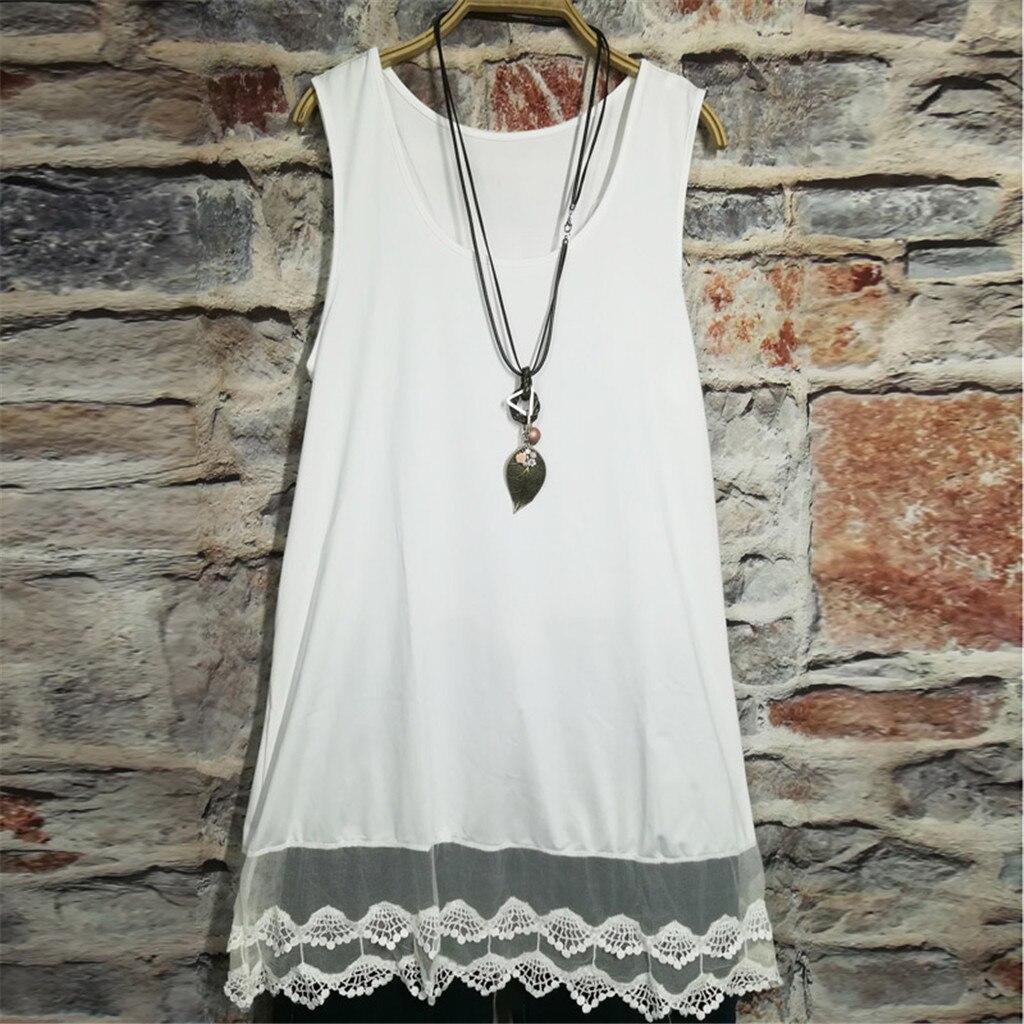 New Dress Women 2019 vestidos femininos Women Fashion Sleeveless Lace Patchwork Hem Casual Dress