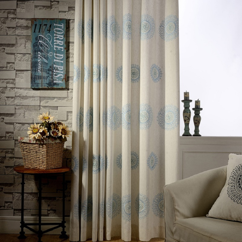 Bedroom Curtains Brown Blue Japan Window Shades Linen Blackout
