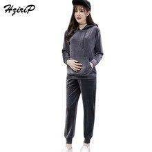 HziriP Новые осенне-зимние наборы для беременных толстовки с капюшоном+ брюки Спортивный комплект для отдыха с длинными рукавами Одежда для беременных женщин