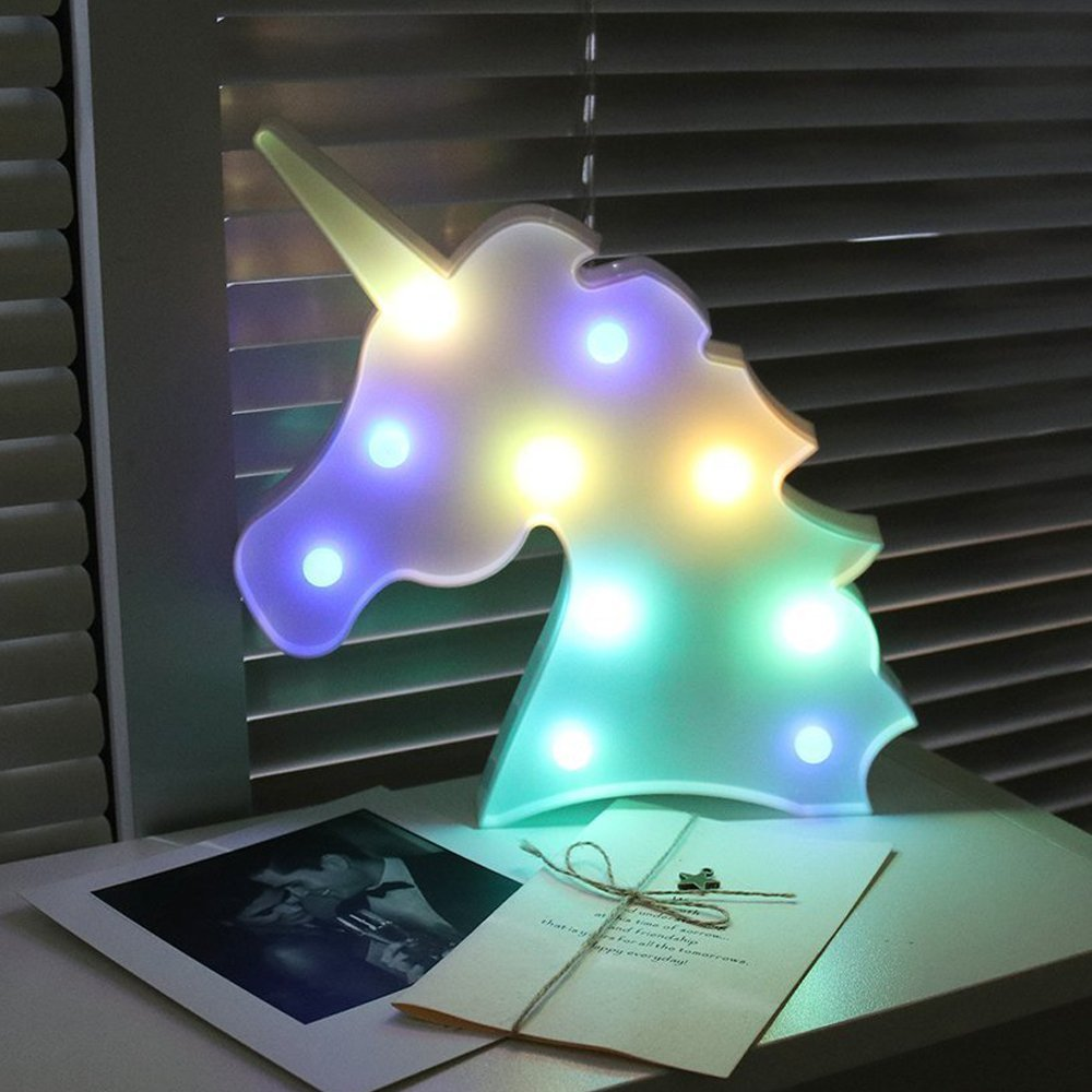 Unicornio Kopf LED Nachtlicht Baby Einhorn Party Lampe Luminaria 3D LED Festzelt Brief Tier Kinder Schlafzimmer Tisch Lampe Dekoration