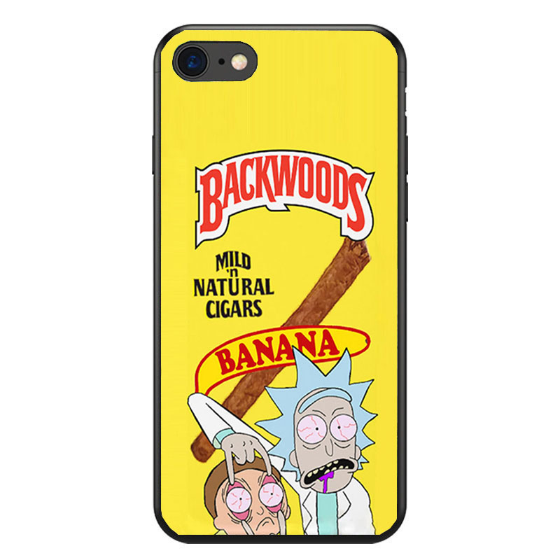 save off 33247 22f69 rick and morty backwoods soft Silicone black cover phone case for iPhone XS  XR Max 6 7 8 plus 5 5s 6s se X Housing
