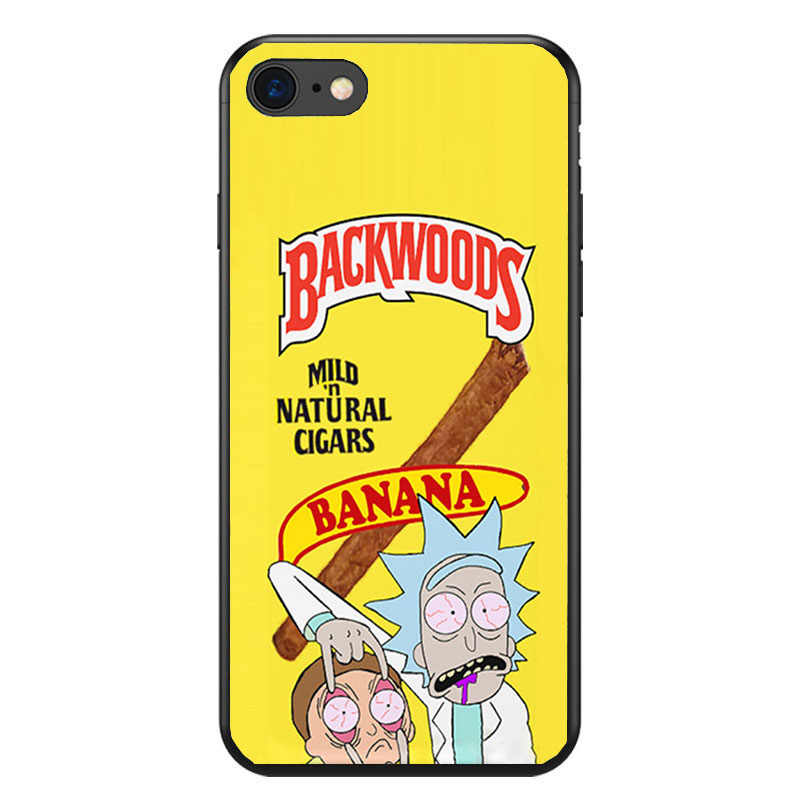 save off 6e561 5cb03 rick and morty backwoods soft Silicone black cover phone case for iPhone XS  XR Max 6 7 8 plus 5 5s 6s se X Housing