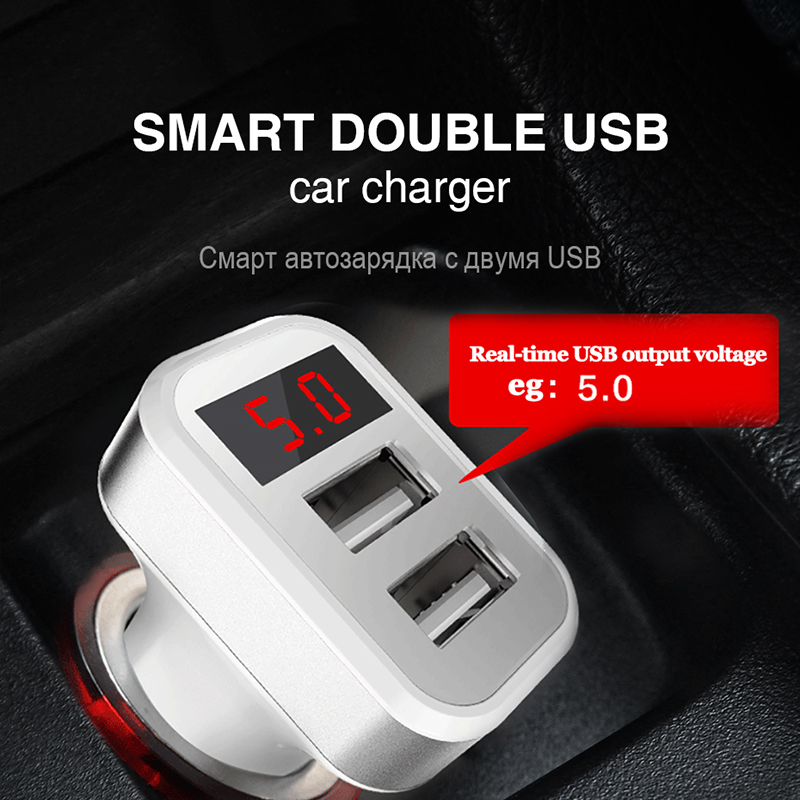 Portable Dual USB Car Charger Adapter 5V 2.1A Fast Charger For Iphone Samsung Huawei Digital LED Voltage/Current Display Charger