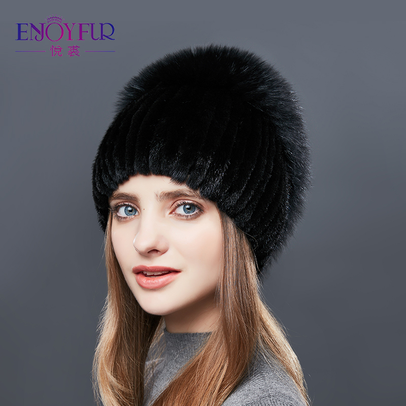ENJOYFUR Mink Fur Hats For Women Real Fur Women Winter Hats Rhinestones High Quality Beanies Caps