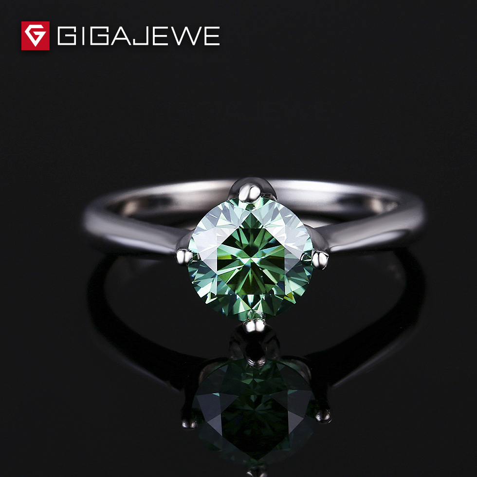 GIGAJEWE Moissanite Loose Beads 0.8ct 6.0mm Green Color Hardness Stone For Women Fashion Jewelry