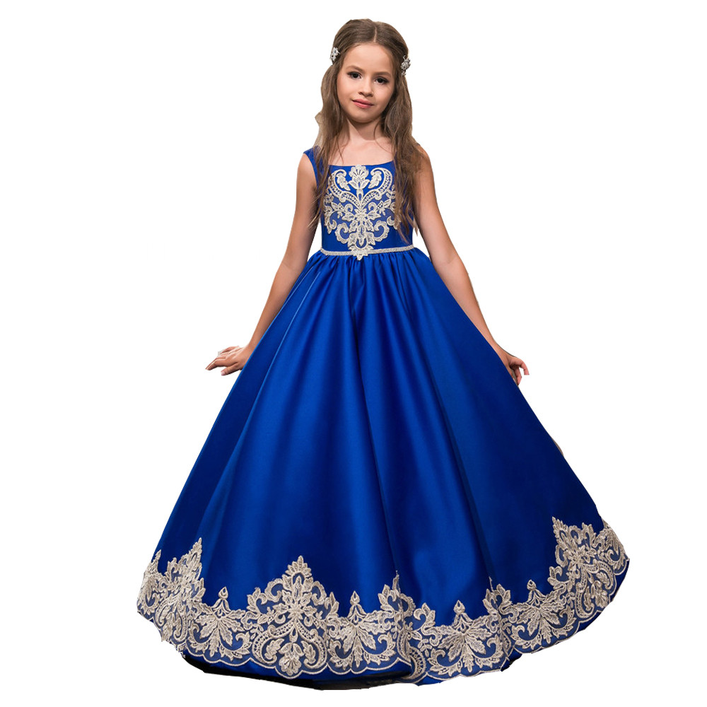 Girls Dress New Summer Mesh Girls Clothes Blue Applique Princess Dress Children Summer Clothes Baby Girls Dress цены онлайн