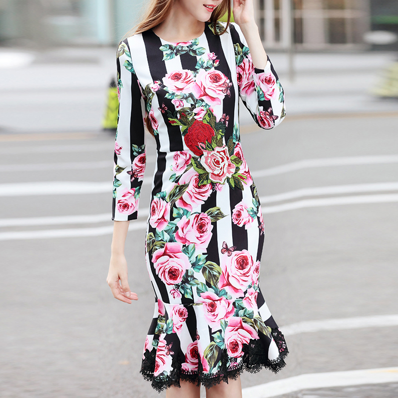 HIGH QUALITY 2018 Spring Designer Runway Dress Women s Wrist Sleeves Flowers Printed Embroidery Patchwork Lace