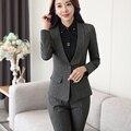 Mantón de Cuello de Dos Piezas de Damas Pantalón Traje Formal Para La Boda Diseños De Uniformes de Oficina Mujer Trajes de Negocios Chaqueta Gris Para El trabajo