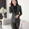 Shawl Collar Two Piece Ladies Formal Pant Suit For Wedding Office Uniform Designs Women Business Suits Gray Blazer For work