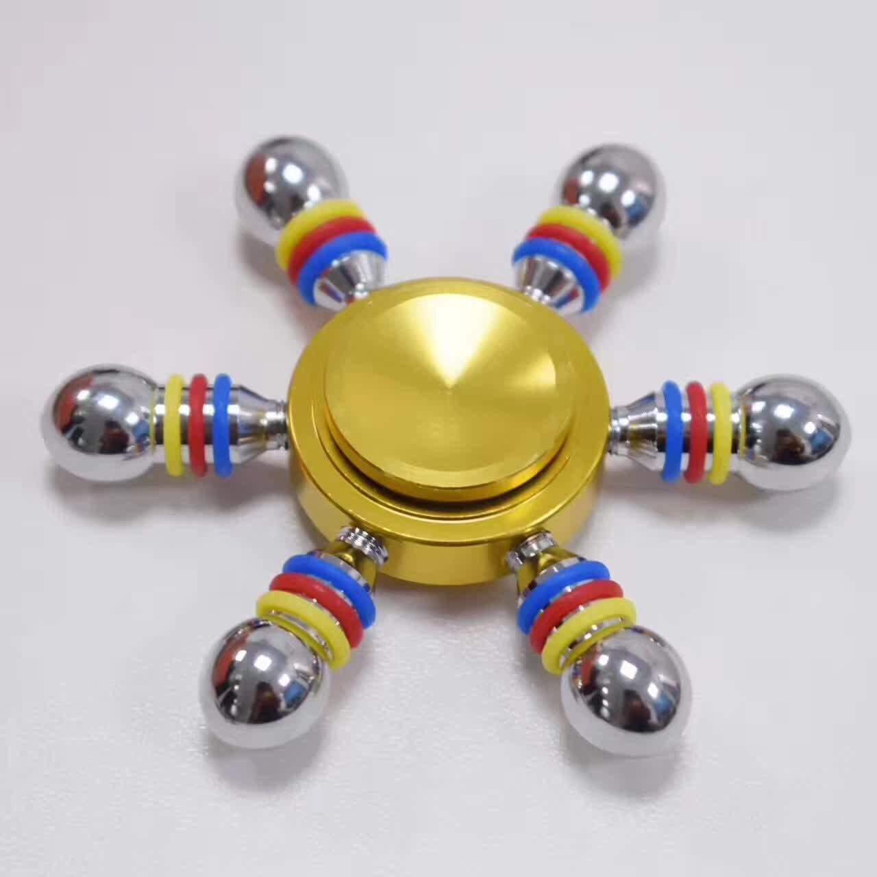 Шесть руку цвета: золотистый, серебристый EDC figet Spinner 3D фокус подшипник torqbar а ...