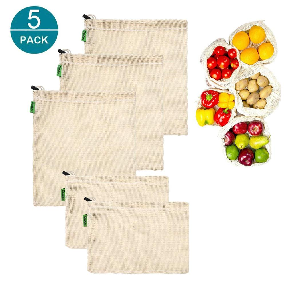 5pcs Reusable Grocery Bags Produce Bag Eco Friendly Shopping Mesh Bags Set USA